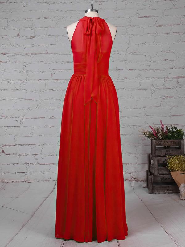Chiffon High Neck A-line Floor-length Ruffles Bridesmaid Dresses #LDB01013496