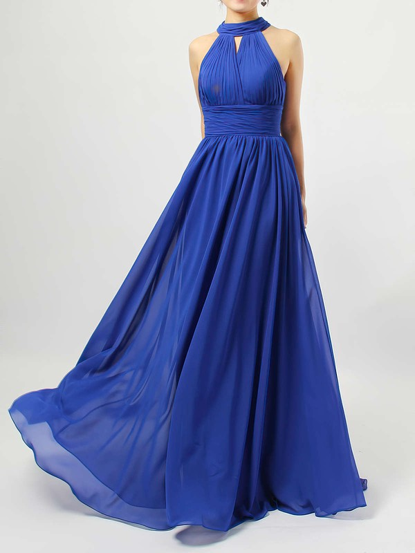 Chiffon Scoop Neck A-line Floor-length Ruffles Bridesmaid Dresses #LDB01013538