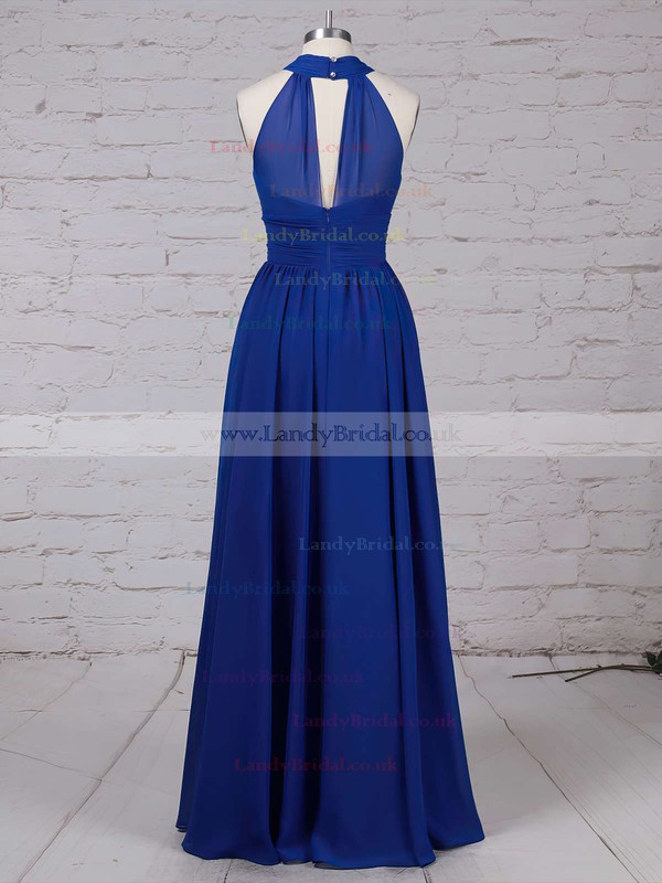 Chiffon Scoop Neck A-line Floor-length Ruffles Bridesmaid Dresses #LDB01013538