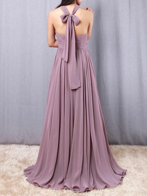 Chiffon V-neck A-line Floor-length Ruffles Bridesmaid Dresses #LDB01013539