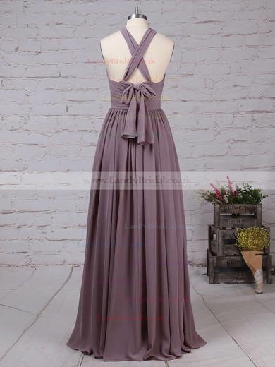 Chiffon V-neck A-line Floor-length Ruffles Bridesmaid Dresses #LDB01013539