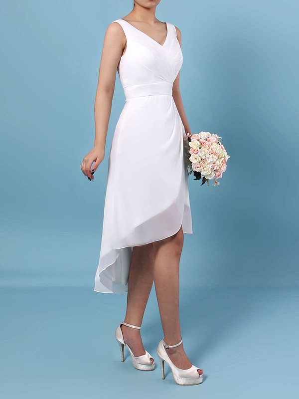 Chiffon V-neck Sheath/Column Asymmetrical Ruffles Bridesmaid Dresses #LDB01013549