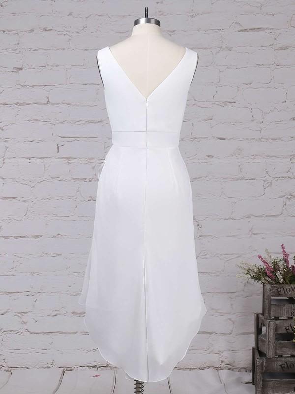 Chiffon V-neck Sheath/Column Asymmetrical Ruffles Bridesmaid Dresses #LDB01013549