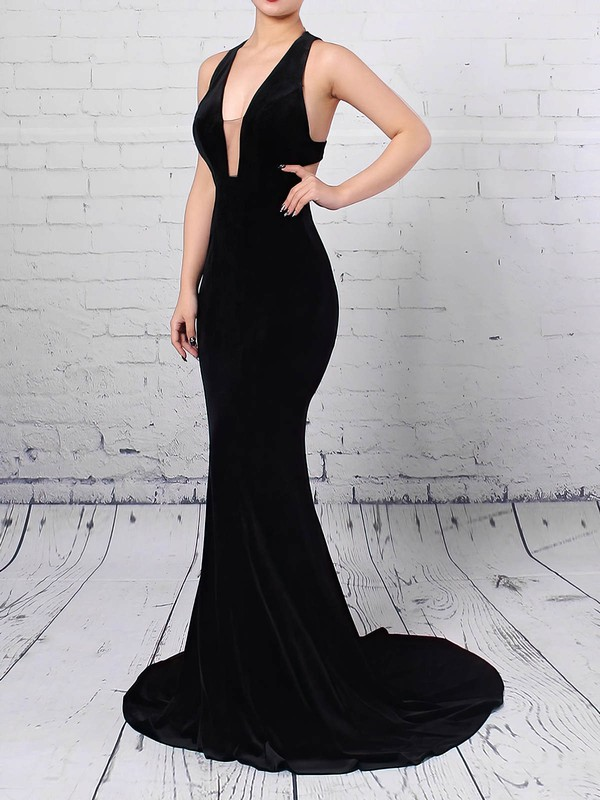 Trumpet/Mermaid V-neck Velvet Sweep Train Prom Dresses #LDB020105099