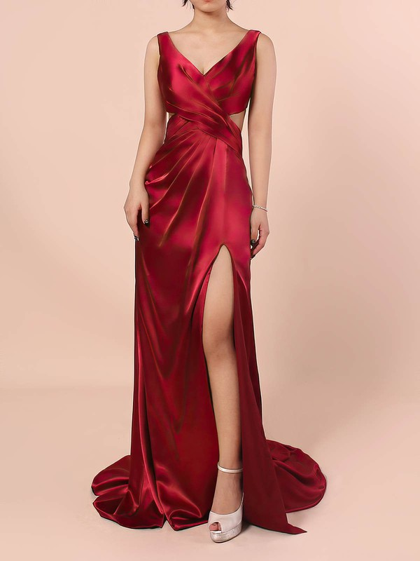 Sheath/Column V-neck Silk-like Satin Sweep Train Ruffles Prom Dresses #LDB020105829