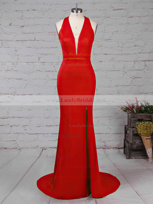 Sheath/Column V-neck Jersey Sweep Train Split Front Prom Dresses #LDB020105874