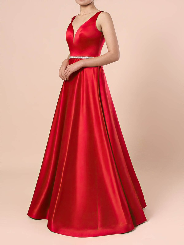 Princess V-neck Satin Floor-length Beading Prom Dresses #LDB020105875