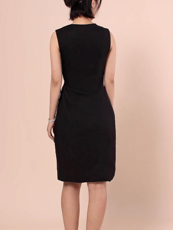 Sheath/Column V-neck Silk-like Satin Short/Mini Pockets Prom Dresses #LDB020105901