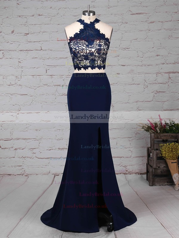 Sheath/Column High Neck Silk-like Satin Sweep Train Lace Prom Dresses #LDB020105921
