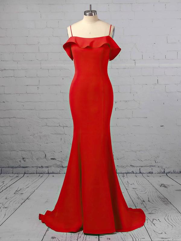 Trumpet/Mermaid Square Neckline Satin Sweep Train Cascading Ruffles Prom Dresses #LDB020106411
