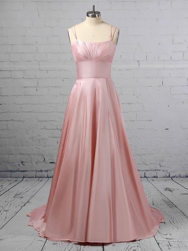 A-line Square Neckline Satin Sweep Train Pockets Prom Dresses #LDB020106414