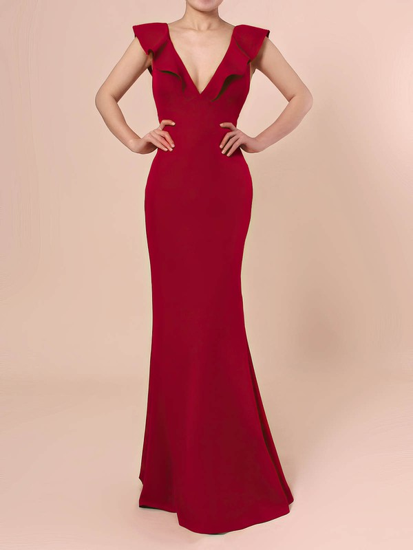 Sheath/Column V-neck Silk-like Satin Floor-length Cascading Ruffles Prom Dresses #LDB020106415