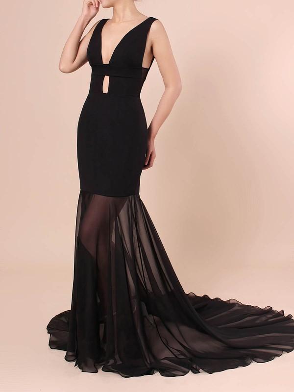 Trumpet/Mermaid V-neck Chiffon Silk-like Satin Sweep Train Split Front Prom Dresses #LDB020106420