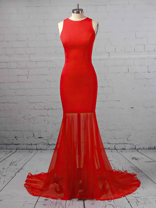 Trumpet/Mermaid Scoop Neck Chiffon Silk-like Satin Sweep Train Prom Dresses #LDB020106421