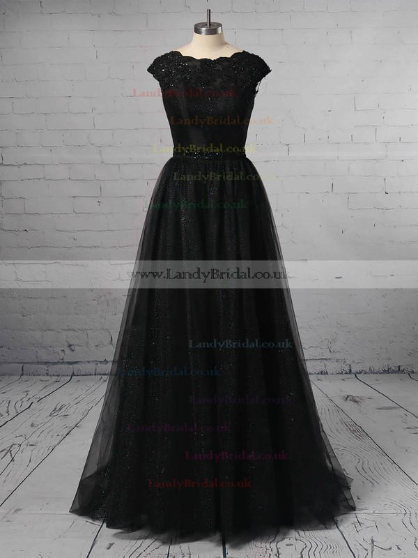 Princess Scoop Neck Tulle Sweep Train Lace Prom Dresses #LDB020106422