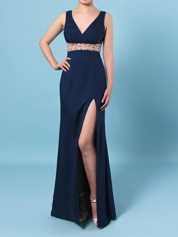 Sheath/Column V-neck Jersey Floor-length Beading Prom Dresses #LDB020106423