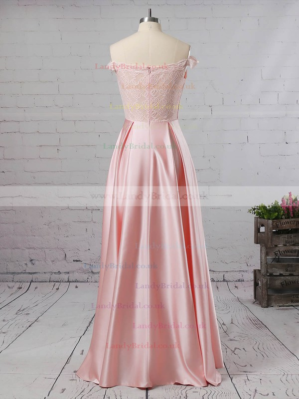 Lace Satin Off-the-shoulder A-line Floor-length Prom Dresses #LDB020105042