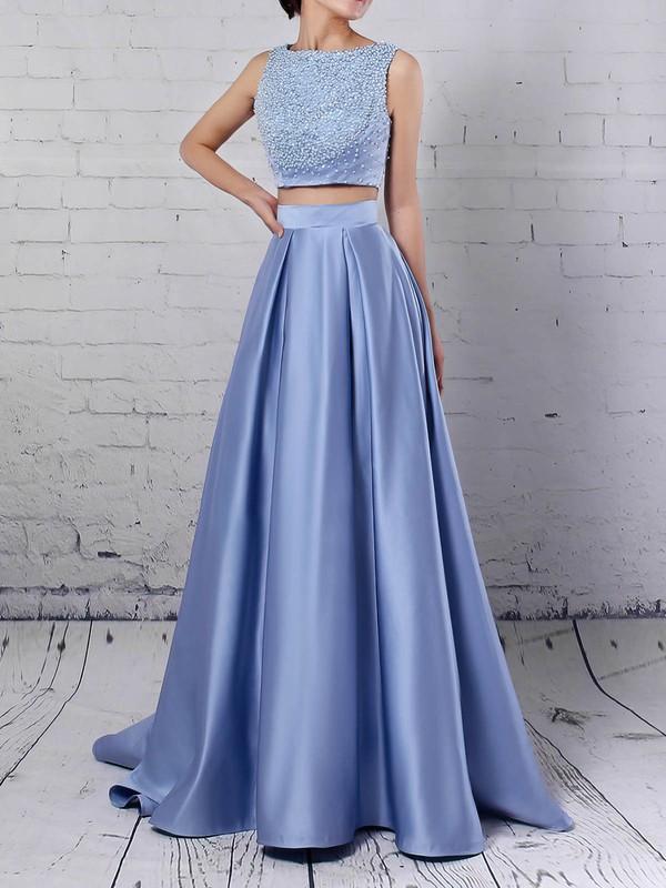 Satin Scoop Neck Princess Floor-length Beading Prom Dresses #LDB020105049