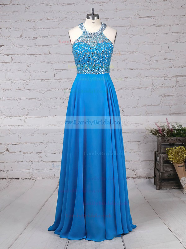 Chiffon Tulle Scoop Neck A-line Sweep Train Beading Prom Dresses #LDB020105056