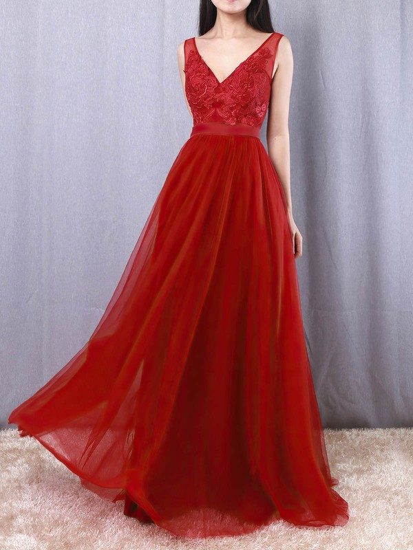 Tulle V-neck A-line Floor-length Appliques Lace Prom Dresses #LDB020105082