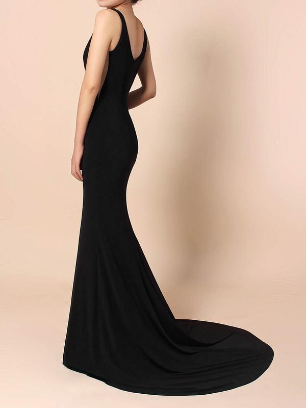 Jersey V-neck Sheath/Column Sweep Train Prom Dresses #LDB020105112