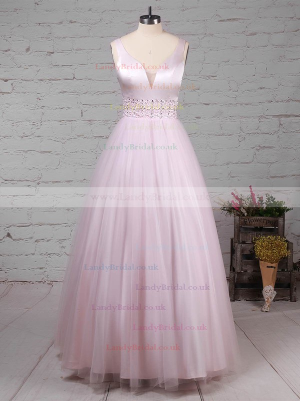 Tulle V-neck Ball Gown Floor-length Beading Prom Dresses #LDB020105114