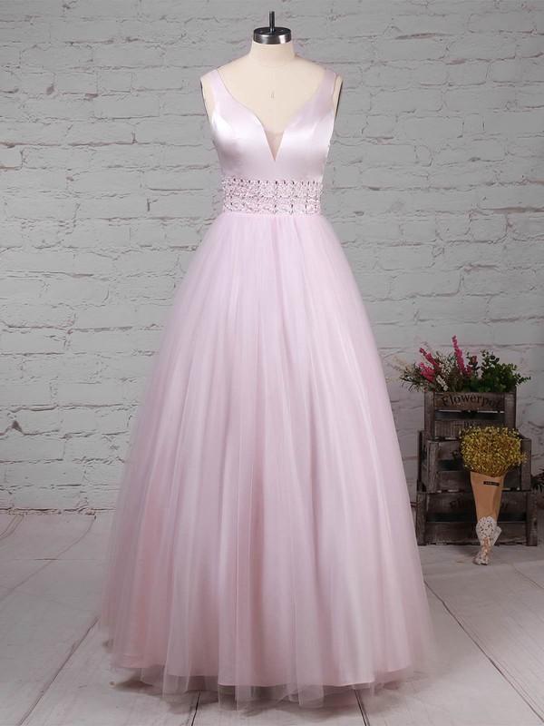 Tulle V-neck Ball Gown Floor-length Beading Prom Dresses #LDB020105114