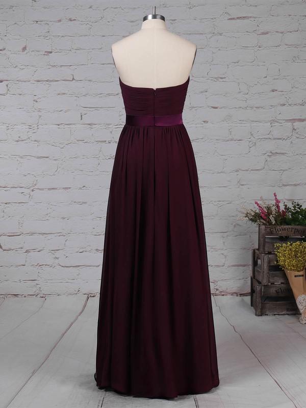 Chiffon Strapless A-line Floor-length Sashes / Ribbons Prom Dresses #LDB020105115