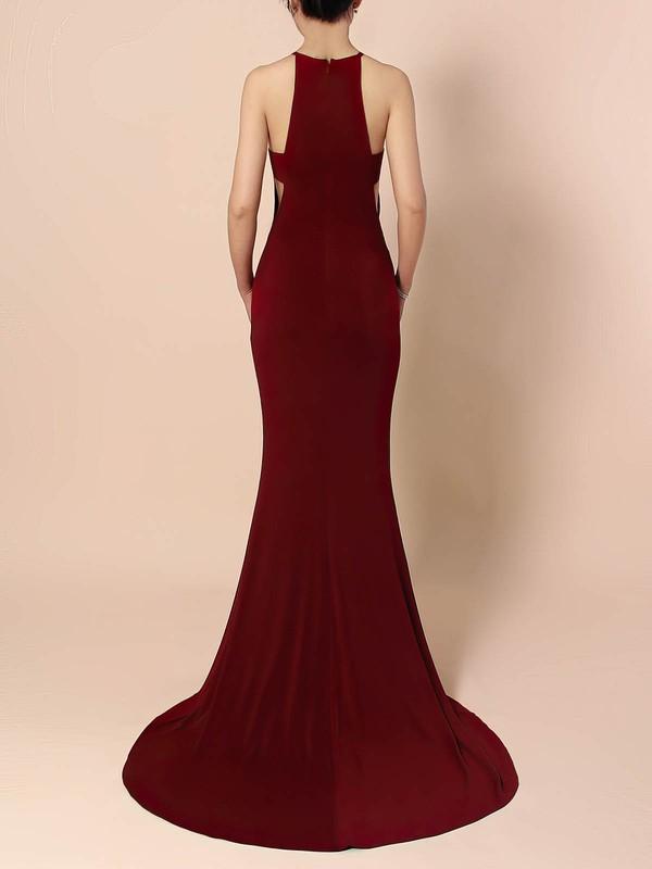 Jersey Scoop Neck Trumpet/Mermaid Sweep Train Split Front Prom Dresses #LDB020105838