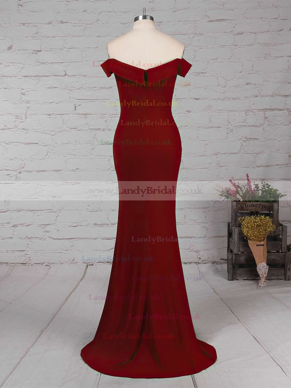 Silk-like Satin Off-the-shoulder Sheath/Column Floor-length Split Front Prom Dresses #LDB020105840