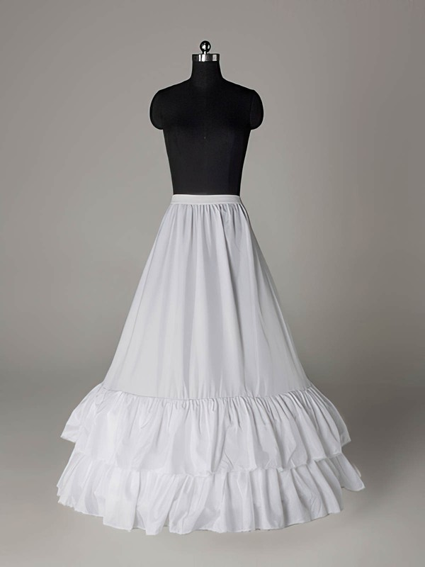 Nylon A-Line Medium Fullness 2 Tier Floor-length Slip Style/Wedding Petticoats #LDB03130020