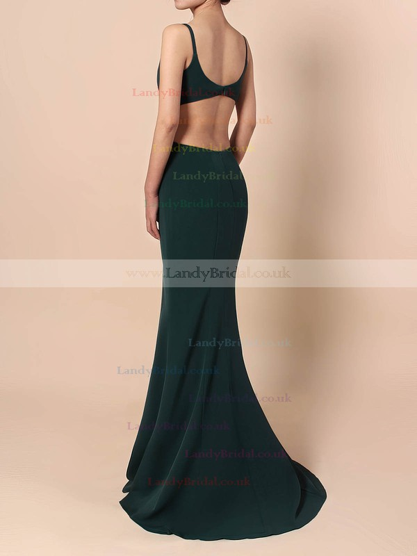 Silk-like Satin V-neck Sheath/Column Sweep Train Prom Dresses #LDB020105843