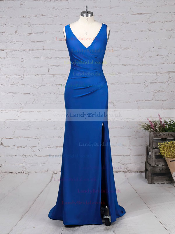 Jersey V-neck Sheath/Column Sweep Train Beading Prom Dresses #LDB020105844