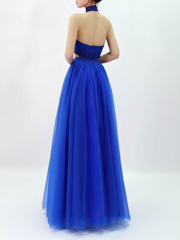 Tulle Halter A-line Floor-length Beading Prom Dresses #LDB020105845
