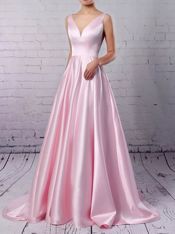 Satin V-neck Princess Sweep Train Pockets Prom Dresses #LDB020105849
