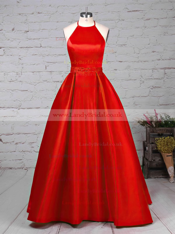 Satin Halter Princess Sweep Train Beading Prom Dresses #LDB020105851