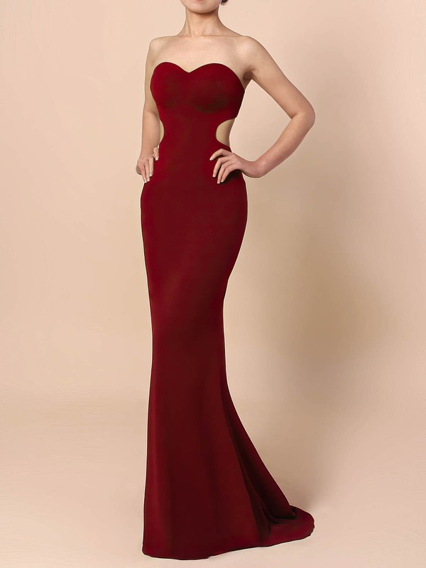 Silk-like Satin Sweetheart Sheath/Column Sweep Train Prom Dresses #LDB020105854