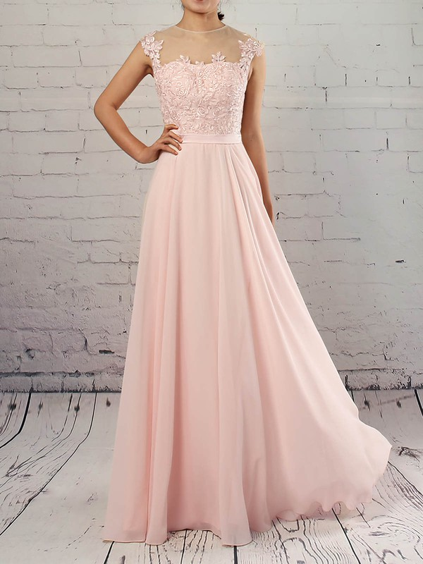 Chiffon Tulle Scoop Neck A-line Floor-length Appliques Lace Prom Dresses #LDB020105858