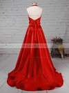 Satin Halter Princess Sweep Train Bow Prom Dresses #LDB020105868