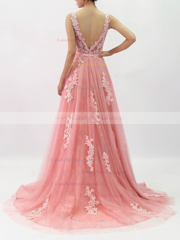 Lace Tulle Scoop Neck Princess Sweep Train Beading Prom Dresses #LDB020105890