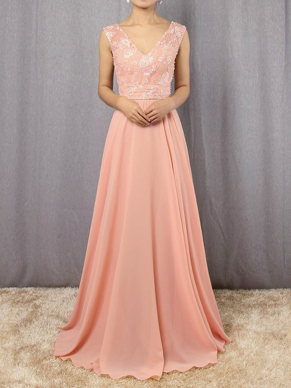 Chiffon Tulle V-neck A-line Floor-length Appliques Lace Prom Dresses #LDB020105892