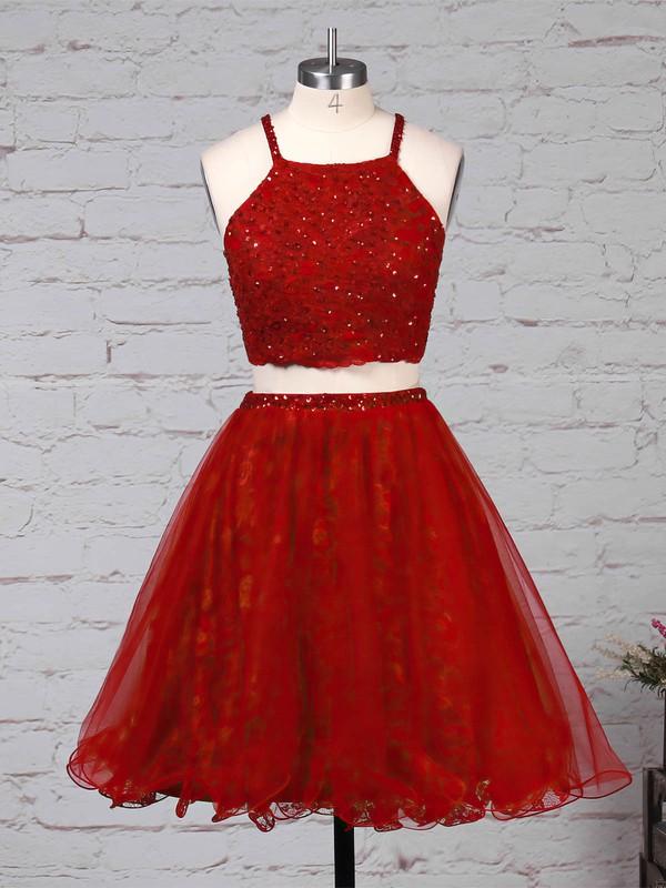Lace Tulle Square Neckline Princess Short/Mini Beading Prom Dresses #LDB020105897