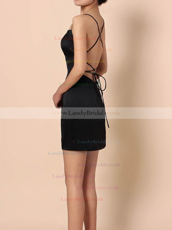 Silk-like Satin Square Neckline Sheath/Column Short/Mini Draped Prom Dresses #LDB020105905