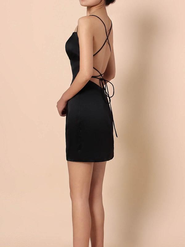 Silk-like Satin Square Neckline Sheath/Column Short/Mini Draped Prom Dresses #LDB020105905