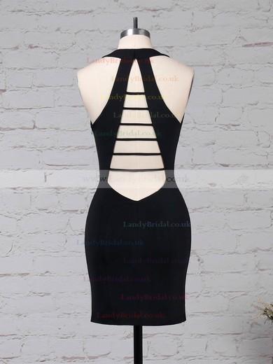 Jersey V-neck Sheath/Column Short/Mini Draped Prom Dresses #LDB020105907