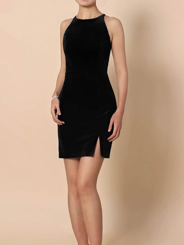 Silk-like Satin Scoop Neck Sheath/Column Short/Mini Split Front Prom Dresses #LDB020105908