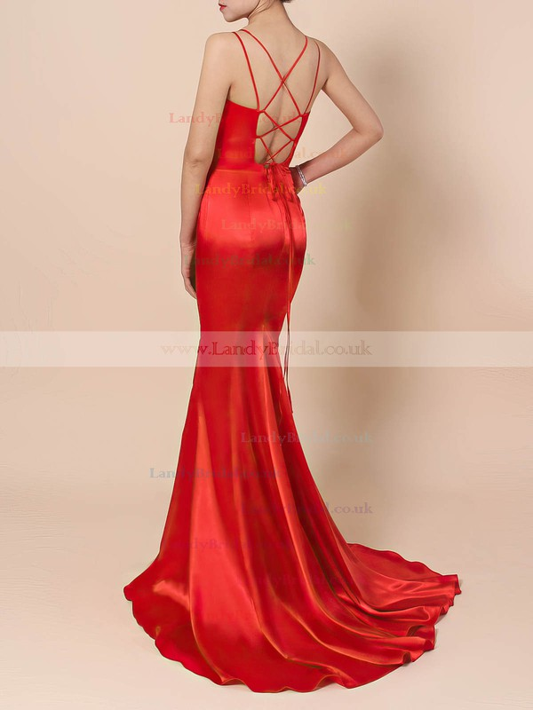 Satin V-neck Trumpet/Mermaid Sweep Train Split Front Prom Dresses #LDB020106413