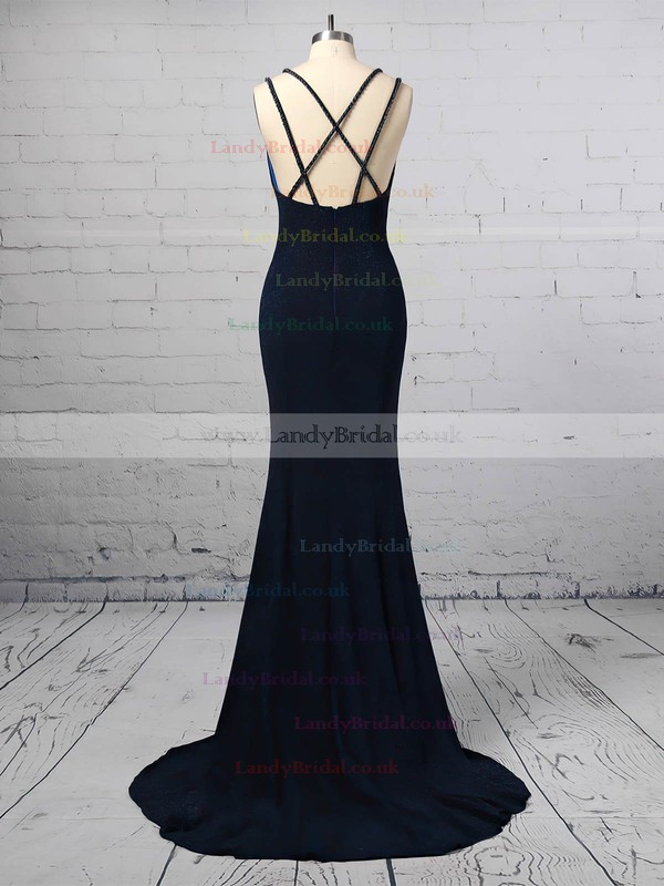 Sequined V-neck Trumpet/Mermaid Sweep Train Split Front Prom Dresses #LDB020106416