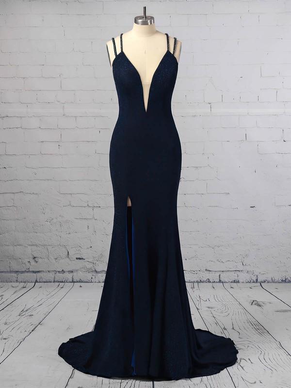 Sequined V-neck Trumpet/Mermaid Sweep Train Split Front Prom Dresses #LDB020106416