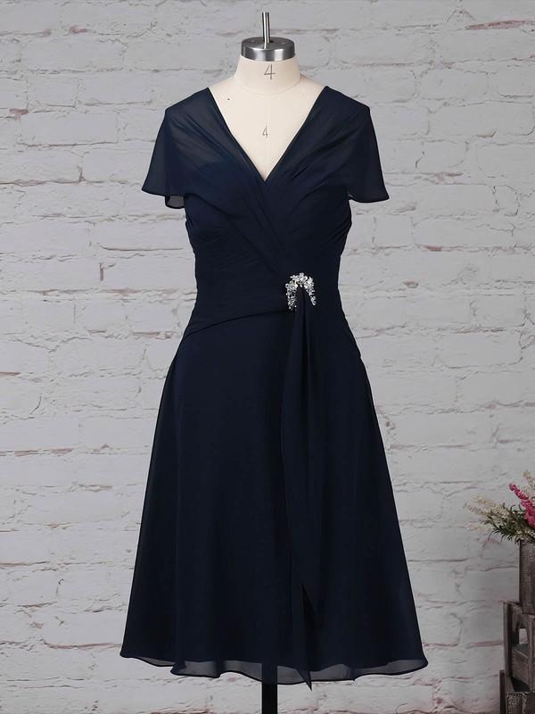 Chiffon V-neck A-line Knee-length Ruffles Mother of the Bride Dress #LDB01021696